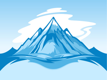 Vector snow mountain blue and white landscape illustration. Иллюстрация