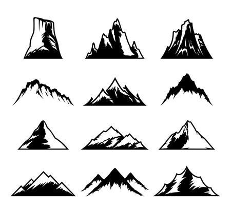 Set of mountain icons isolated on white background.