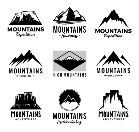 Vector mountains logo isolated on white. Mountains, rocks and peaks icons. Ilustrace