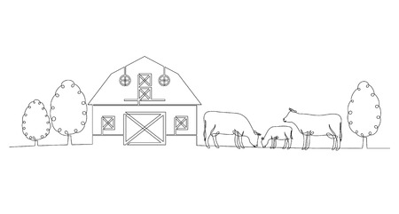 Continuous line drawing of a farm, cow and calf isolated on white background