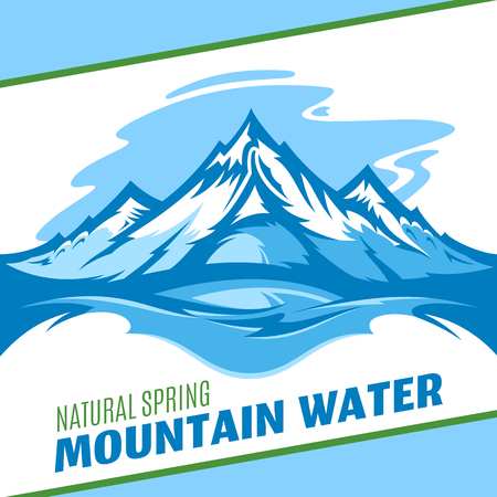 Vector ice mountain water design on blue background Illustration