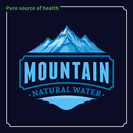 Vector ice mountain water design illustration on blue background