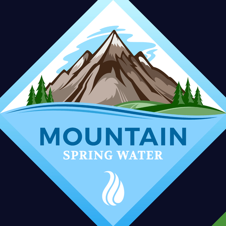 Vector mountain water design illustration on blue background Illustration