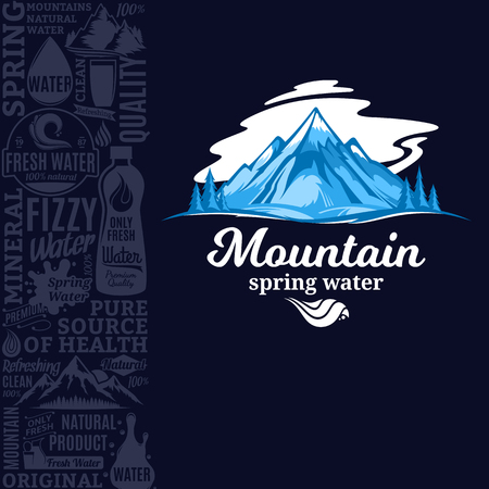 Vector ice mountain water illustration with mountain landscape, many water icons, splashes and design elements.
