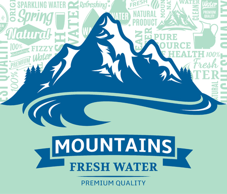 Vector mountain water illustration with mountain landscape design Illustration