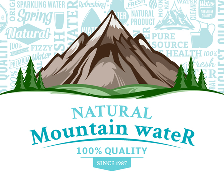Vector natural mountain water illustration with mountain landscape, many water icons, splashes and design elements.