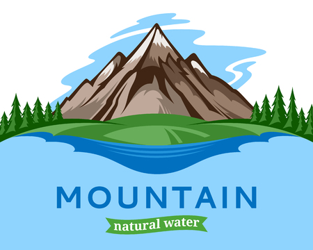 Vector water illustration or label design with mountain, trees and clouds. Illustration