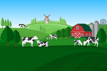 Vector milk farming illustration. Summer rural landscape, cows, calves and design elements. 일러스트