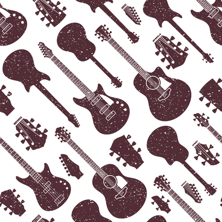Retro styled vector guitars pattern or background. Guitar icons for audio store branding and identity, poster or t-shirt print. Stock Illustratie