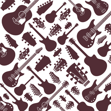 Vector guitars pattern or background. Guitar icons for audio store branding and identity, poster or t-shirt print.
