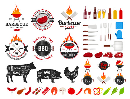 Vector barbecue logo and labels. BBQ, meat, vegetables, beer, wine and barbecue equipment icons.