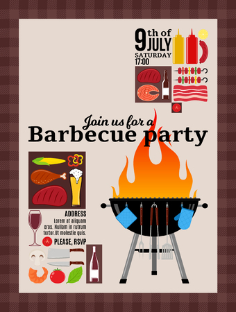 Vector barbecue party invitation. BBQ, meat, vegetables, seafood, drinks and grill equipment icons. 矢量图像
