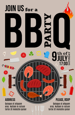 Vector barbecue party invitation. BBQ, meat, vegetables, seafood and grill equipment icons.