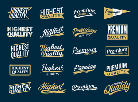 Retro styled vector gold and white premium and highest quality stickers and design elements on dark blue background.