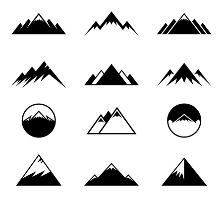 Vector simple geometrical mountains icons isolated on white. Stock Illustratie