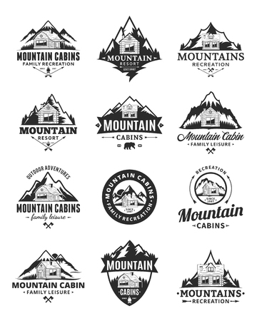 Conjunto de aventuras de montaña de vector, recreación al aire libre y logotipo de alquiler de cabañas. Logos