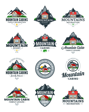 Set of vector mountain adventures, outdoor recreation and cabin rentals logo.
