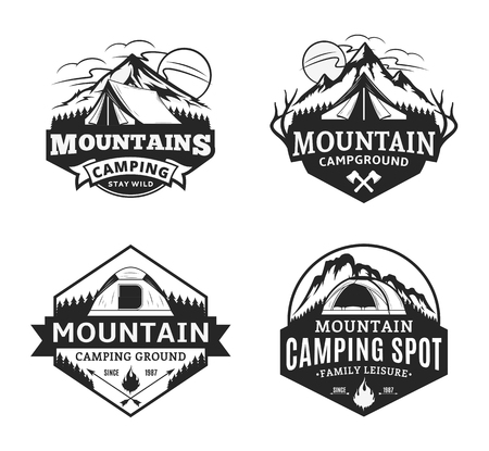 Set of vector mountain camping and outdoor recreation logo. Campground badges.