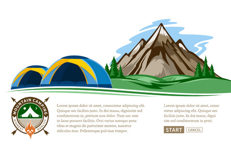 Vector mountain camping illustration with tourist tents, green meadow, mountain and pine trees.