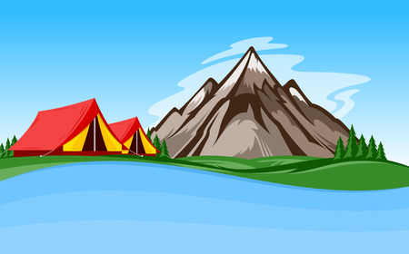 Vector mountain camping illustration with tourist tent, green meadow, lake, mountain and pine trees.