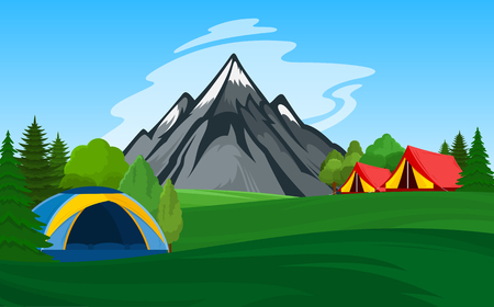 Vector mountain camping illustration with tourist tents, green meadow, mountain and trees.