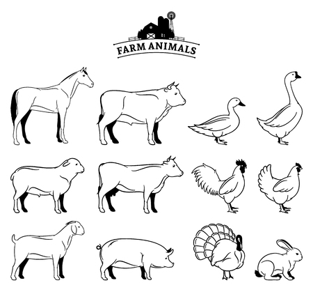 Vector farm animals isolated on white.