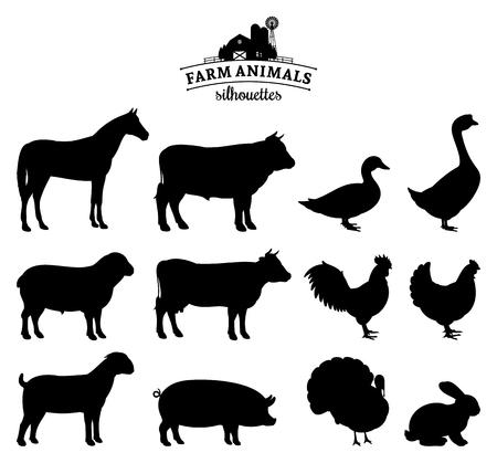 Siluette degli animali della fattoria di vettore isolate su bianco.
