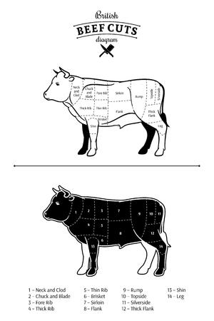 British beef cuts diagram. Vektorgrafik
