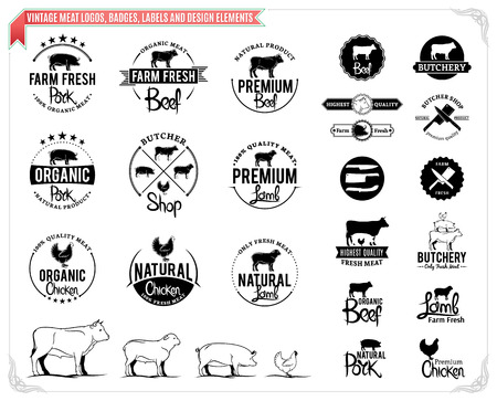 Vintage meat logo, badges, labels and design elements.