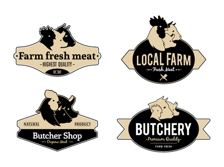 Set of vintage retro labels and design templates for meat stores and products.