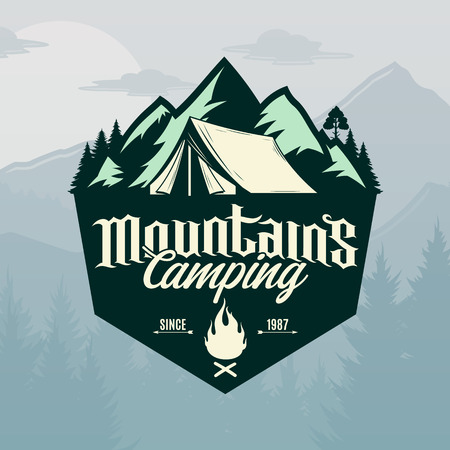Vector mountains camping and outdoor recreation logo. Tourism, hiking and campground badge.