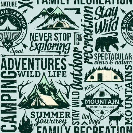Vector camping and outdoor adventures retro styled seamless typographic pattern or background. Tourism, hiking and travel icons.