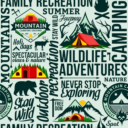 Vector camping and outdoor adventures seamless typographic pattern or background. Tourism, hiking and travel icons.