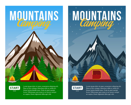 Vector day and night mountains camping vertical banners. Wild nature landscapes with tourist tents, green meadow, mountain, campfire and trees.