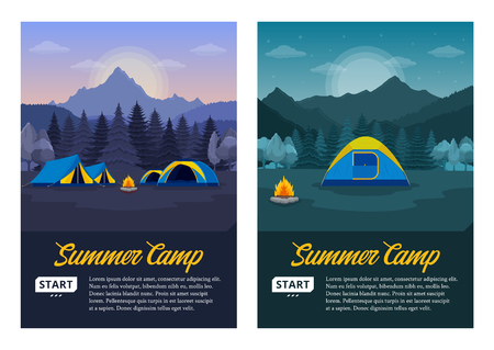 Vector morning and night mountains summer camp vertical banners. Wild nature landscapes with tourist tents, green meadow, mountain, campfire and trees.
