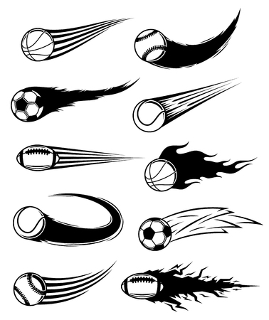 Vector black and white flying balls with motion trails. Illustration