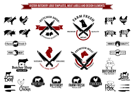 Vector butchery logo templates, labels, icons and design elements.