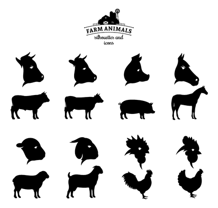 Vector farm animals silhouettes and icons isolated on white. Ilustração Vetorial