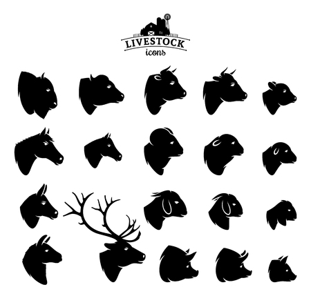 Vector livestock icons isolated on white.