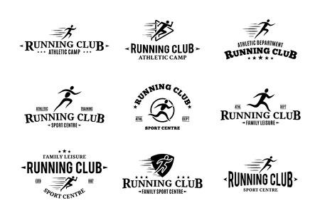Set of vector running club logo.