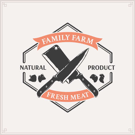 Butchery logo, meat label template with farm animals icons and knives. Çizim