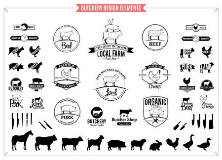 Logo rzeźnika, etykiety, wykresy i elementy projektu.