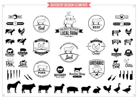 Logotipo de carnicería, etiquetas, gráficos y elementos de diseño.