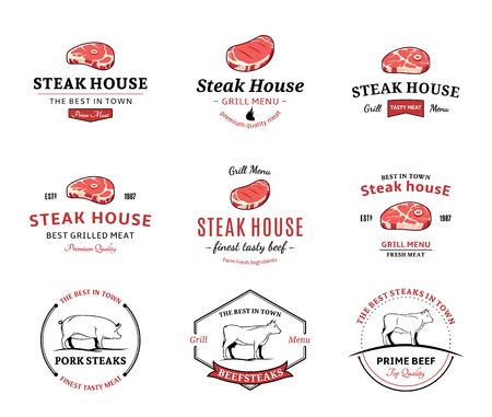 Grill steak logo, labels, and design elements. Steaks for BBQ and grill steakhouse labels.