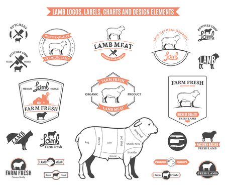 Lamb logo, labels, charts and design elements. Vectores