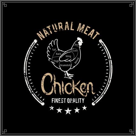 Retro styled butcher shop logo, chicken cuts diagram