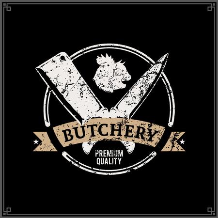 Logotipo de carnicería de estilo retro