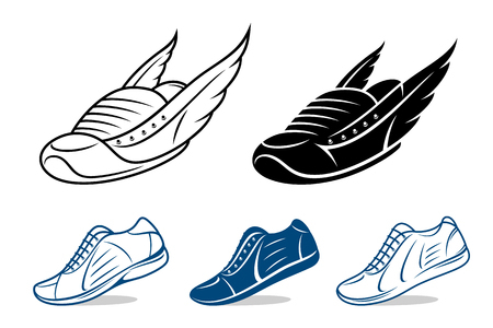 Running shoe icons, sneaker or sports shoe isolated on white.