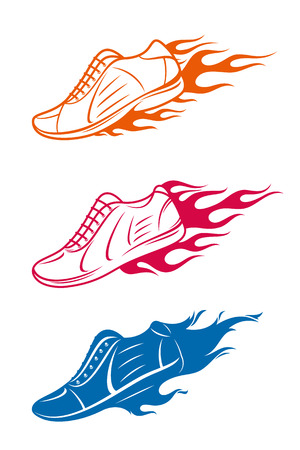 Running shoe icons, sneaker or sports shoe with speed fire trails isolated on white. Vettoriali