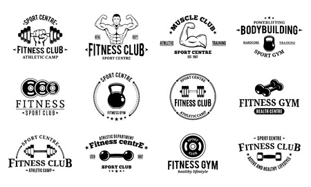 Sport and fitness logo, athletic labels and badges.